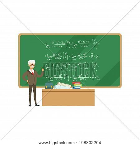 Professor near the blackboard with formulas talking during the university lecture, high school education vector Illustration on a white background