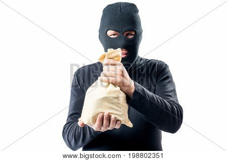 Thief Robbed A Bank Showing A Bag Of Money On A White Background