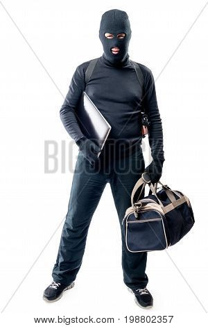 Robber With A Bag And A Laptop In Full Length On A White Background