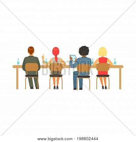 Students sitting at desks at college or university auditorium, back view, high school education vector Illustration on a white background