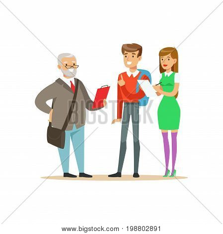 Students having a discussion with their professor, high school education vector Illustration on a white background