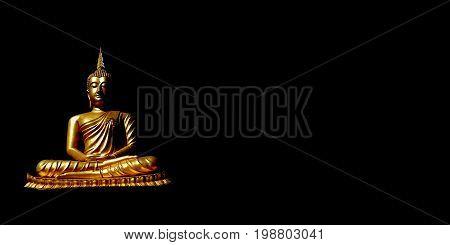 Golden buddha, The ancient golden Buddha statue or ancient golden Buddha image on black isolated background