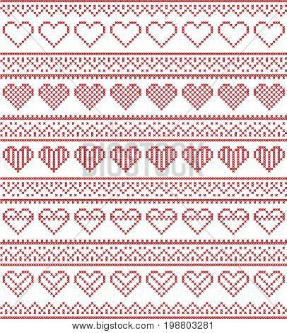 Nordic style and inspired by Scandinavian cross stitch craft seamless Christmas pattern in red and white including  vary hearts elements and  decorative ornaments
