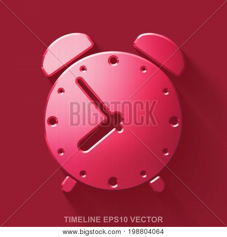 Flat metallic time 3D icon. Red Glossy Metal Alarm Clock icon with transparent shadow on Red background. EPS 10, vector illustration.