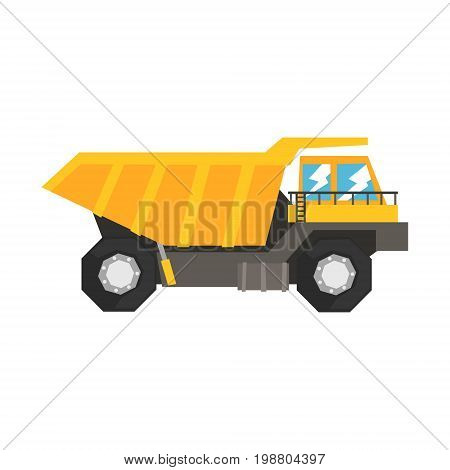 Big yellow dump truck, heavy industrial machinery vector Illustration on a white background