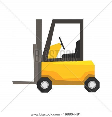 Yellow forklift truck, warehouse machinery vector Illustration on a white background