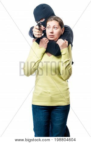 Terrorist With His Victim On A White Background Isolated