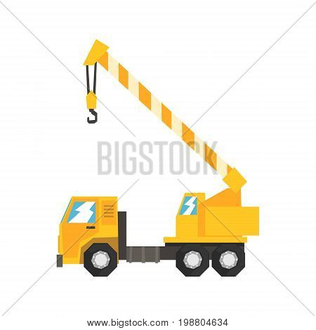 Yellow truck mounted hydraulic crane cartage, heavy industrial machinery vector Illustration on a white background