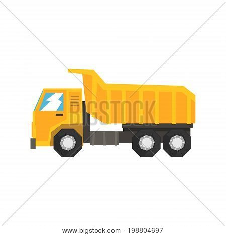 Yellow dump truck, heavy industrial machinery vector Illustration on a white background