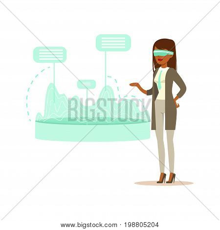 Businesswoman wearing VR headset working in digital simulation, analyzing financial results, future technology concept vector Illustration on a white background