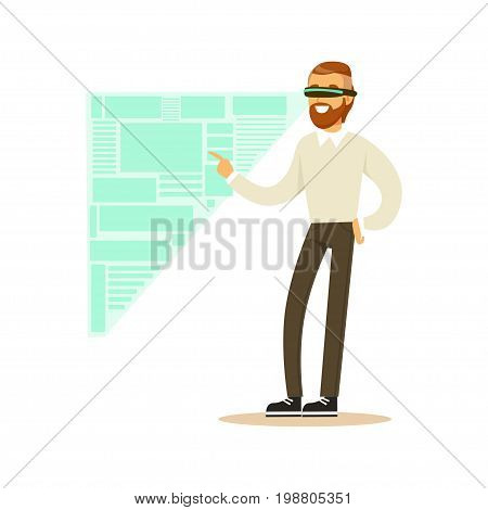 Businessman wearing VR headset working in digital simulation, analyzing business processes, future technology concept vector Illustration on a white background