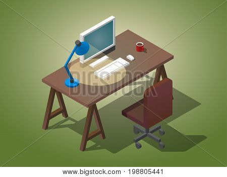 Empty desktop for businessman. Isometric vector illustration. A table with a computer, a cup of coffee, a table lamp shines.