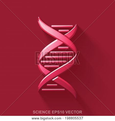 Flat metallic Science 3D icon. Red Glossy Metal DNA icon with transparent shadow on Red background. EPS 10, vector illustration.