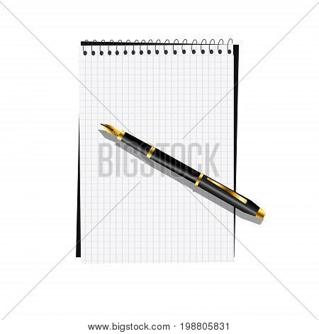 Notebook with pen pad template for text