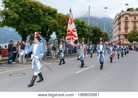 Military Parade With Vintage Costumes