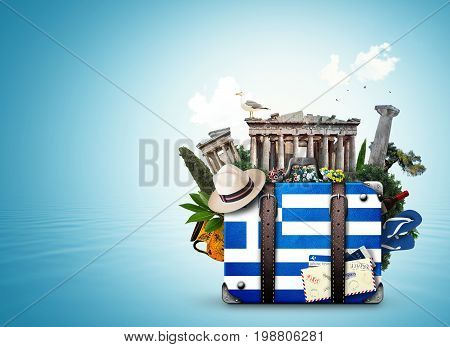 Greece, vintage suitcase with old Greece landmarks