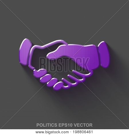 Flat metallic politics 3D icon. Purple Glossy Metal Handshake icon with transparent shadow on Gray background. EPS 10, vector illustration.