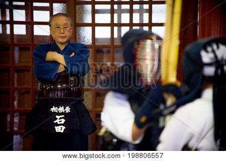 July 31 2016 - Nikko Japan : In Toshogu Butokuden Hall Focus the Teachers see the student Kendo training This gymnasium serves as the Nikko Toshogu.