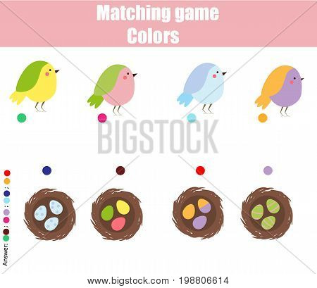 Educational children game. Matching game worksheet for kids. Match by color. Find pairs of birds and nests. Learning colors, animals theme