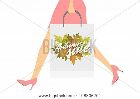 Autumn sale design concept. Woman with paper packets. Vector illustration. Applicable for advertising and promotion, season offer, design gift card, flyer or placard.
