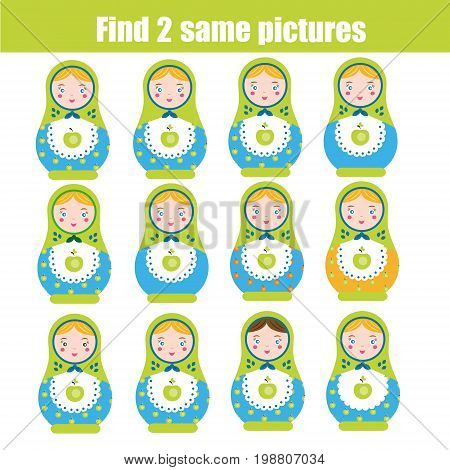 Find the same pictures children educational game. Find equal pairs of matreshka dolls