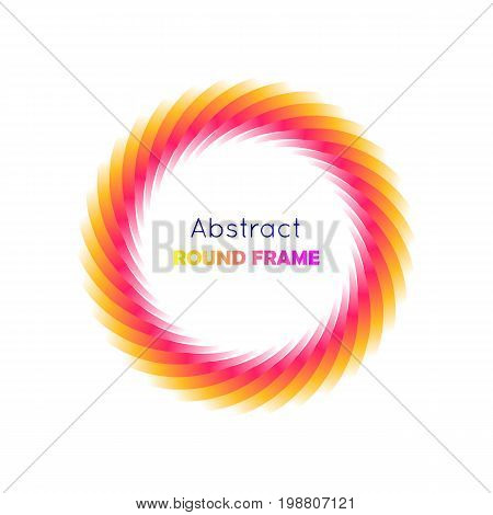 Abstract round frame gradient. Round frame on a white background with a bright yellow and red gradient for illustrators and designers. Abstract round frame gradient vector illustration