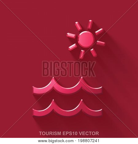 Flat metallic travel 3D icon. Red Glossy Metal Beach icon with transparent shadow on Red background. EPS 10, vector illustration.