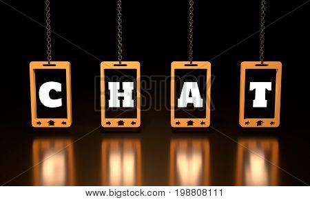 Chat text on abstract phone screen hanging from a chain. 3D rendering