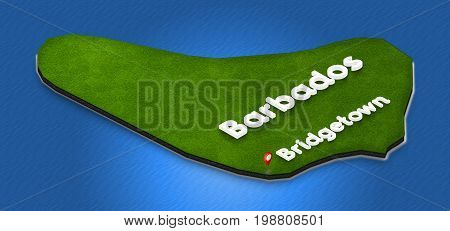 Map Of Barbados. 3D Isometric Perspective Illustration.