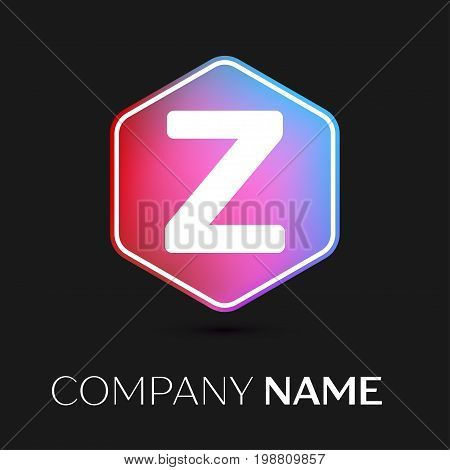 Realistic Letter Z vector logo symbol in the colorful hexagonal on black background. Vector template for your design