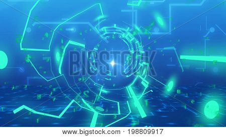 3D Abstract Circuit Board With Blue Funnel Lines