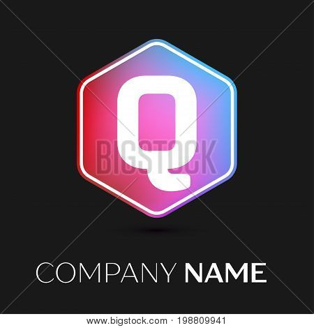 Realistic Letter Q vector logo symbol in the colorful hexagonal on black background. Vector template for your design