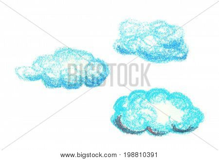 Blue clouds by oil pastels isolated on white background. Nursery style cloud clipart. Handdrawn clouds isolated. Sky atmosphere weather icons. Fluffy cloud logo. Children drawing style celestial object