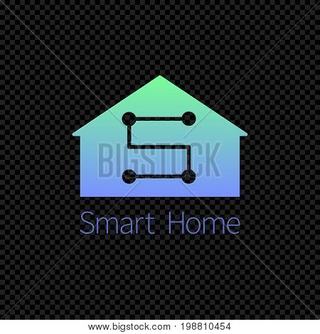 Smart home logo template. Vector logotype isolated on transparent background. Vector illustration of house with gradient.