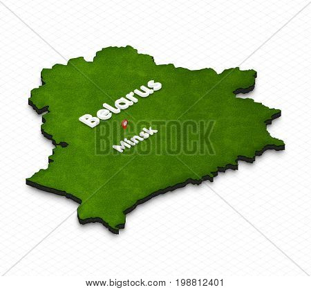 Map Of Belarus. 3D Isometric Perspective Illustration.