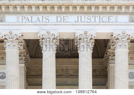 Facade of a palais of justice in France