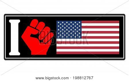 Hatred of America. Concept sign for the resentment and hostility against the United States