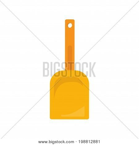 Yellow plastic shovel or spade flat illustration. Could be also used as a toy beach shovel icon.