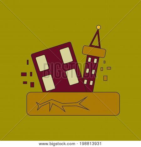 flat icon on stylish background natural disaster earthquake
