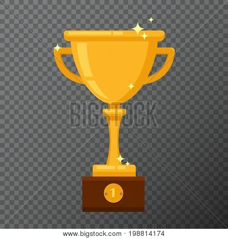 Champion golden goblet isolated on background. Vector illustration with award cup done in simple flat design. Glossy prise used for a logo, website, certificate or diploma creations.
