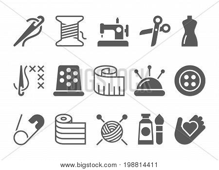 Sewing and needlework black vector icons set