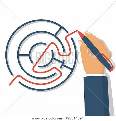 Find way out. Exit from the circle labyrinth. Man with pen leads line from maze. Vector illustration flat design. Isolated on white background. Successful solution confusing business. Solution problem