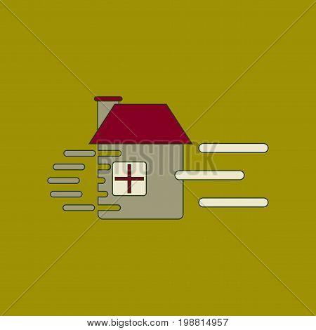 flat icon on stylish background wind destroys house