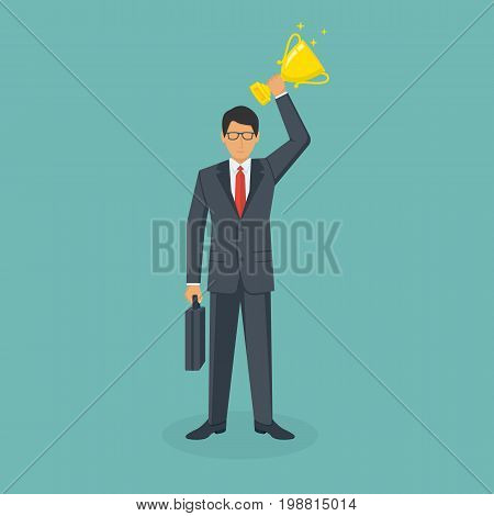 Winning cup in hand human. Businessman leadership suit with briefcase hold awards. Symbol of success, winning, championship. Entrepreneur achievement. Gold trophy. Vector illustration flat design.
