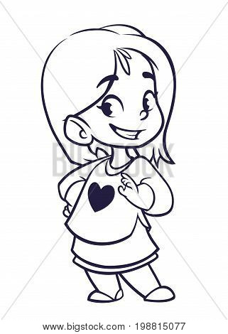 Vector color cartoon image of a cute little girl outlines. Little girl with blonde hair. Little girl in red and yellow stripes dress standing and smiling on a white background. Color image outlined. Vector cartoon little girl.