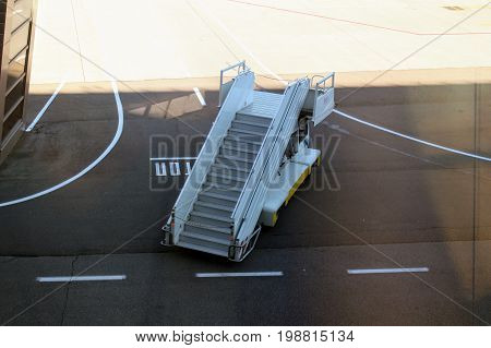 A self-propelled passenger ladder at the Vnukovo International Airport (Moscow) - July 2017.