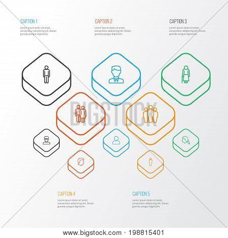 People Outline Icons Set. Collection Of Head, Team, Smart Man And Other Elements