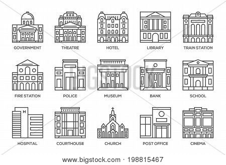 Building architecture thin line style icons set.