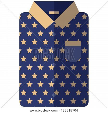 Vector Icon of a modern dark blue shirt with yellow stars for men or woman in flat style without lines. Pixel perfect. Bussiness and office look. For shops and stores