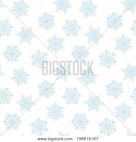 Seamless winter white background with blue snowflakes